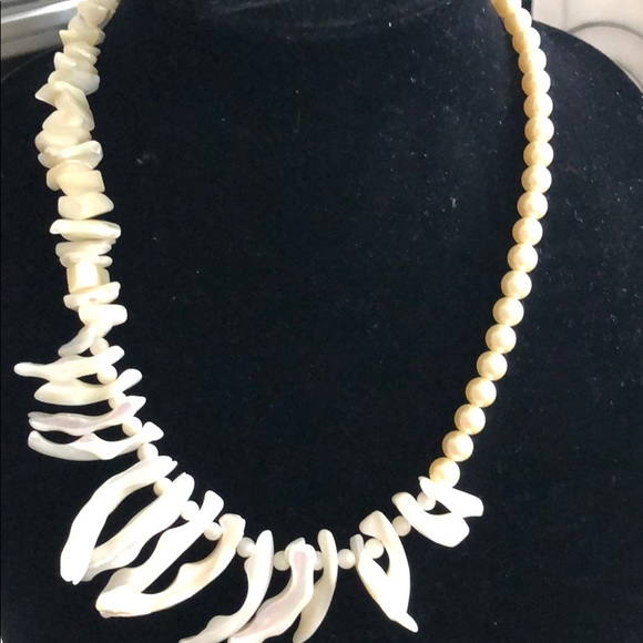 Hand made necklace unique mother of pearl, pearls